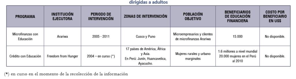 Tabla 2: Resumen de las iniciativas de organizaciones no gubernamentales dirigidas a adultos